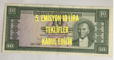 5.Emisyon 6.tertip 10 lira